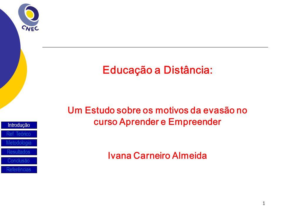 Educação a Distância: Um Estudo sobre os motivos da evasão no curso Aprender e Empreender. Ivana Carneiro Almeida.