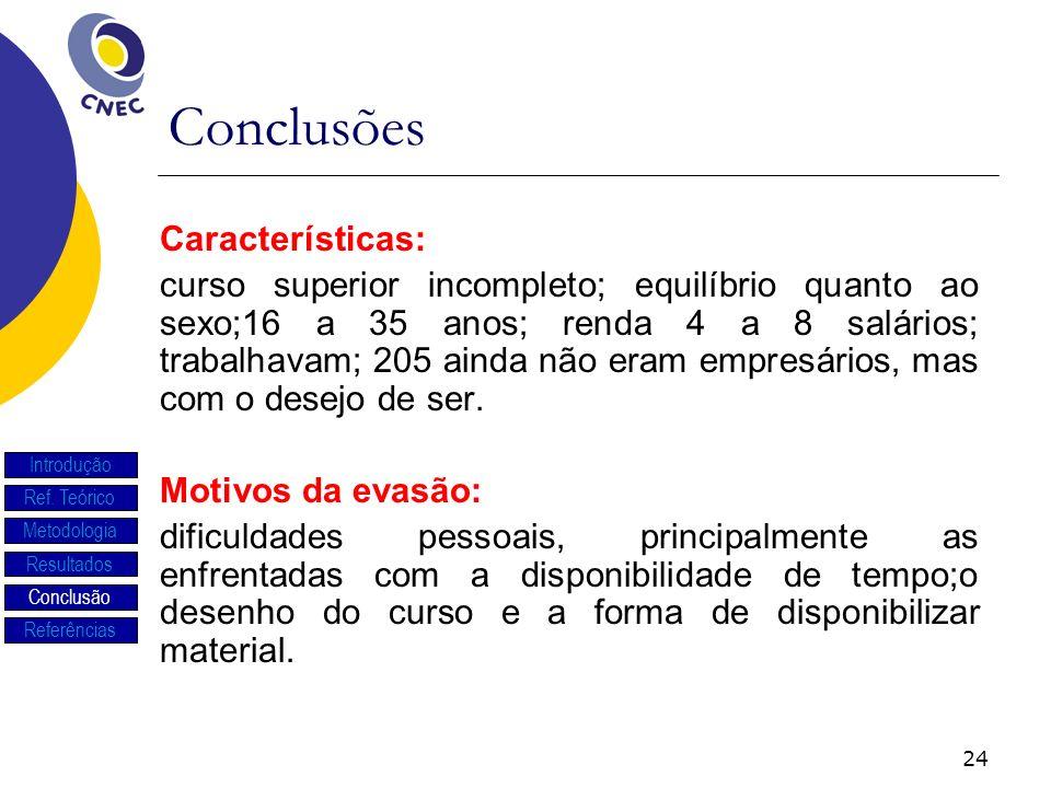Conclusões Características: