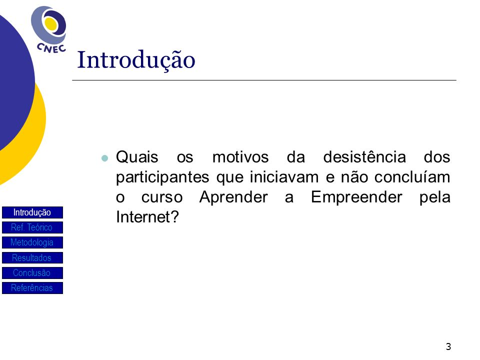 Introdução Quais os motivos da desistência dos participantes que iniciavam e não concluíam o curso Aprender a Empreender pela Internet
