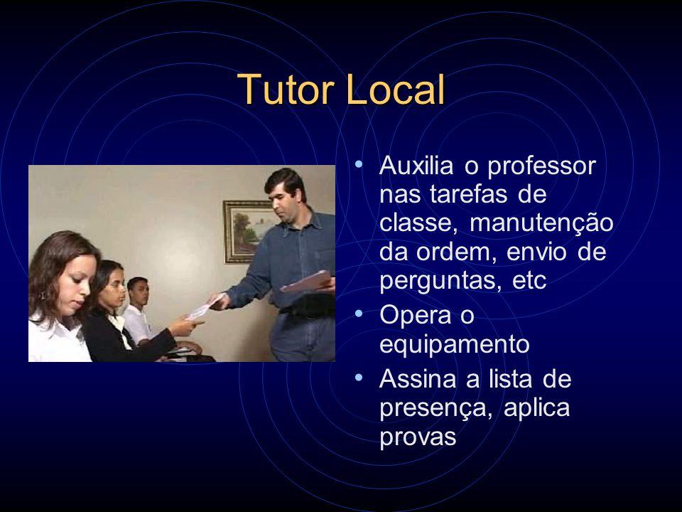 Tutor Local Auxilia o professor nas tarefas de classe, manutenção da ordem, envio de perguntas, etc.