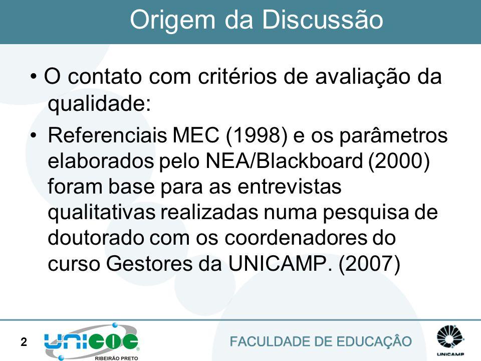 Origem da Discussão • O contato com critérios de avaliação da qualidade: