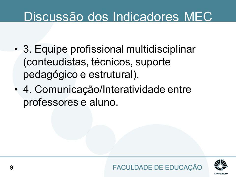 Discussão dos Indicadores MEC