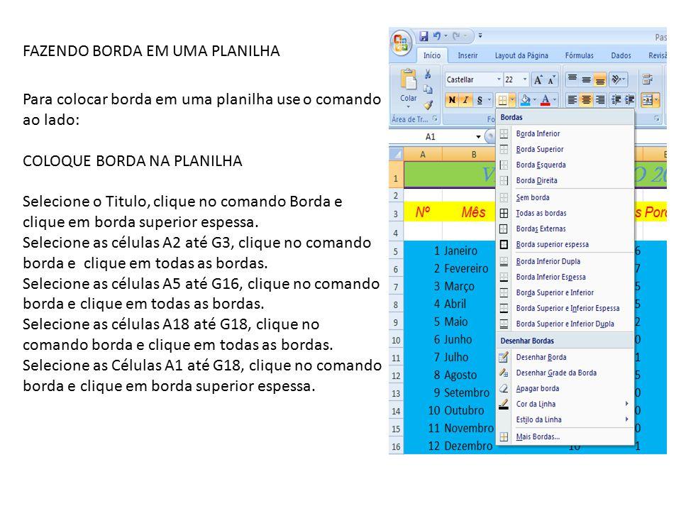 FAZENDO BORDA EM UMA PLANILHA