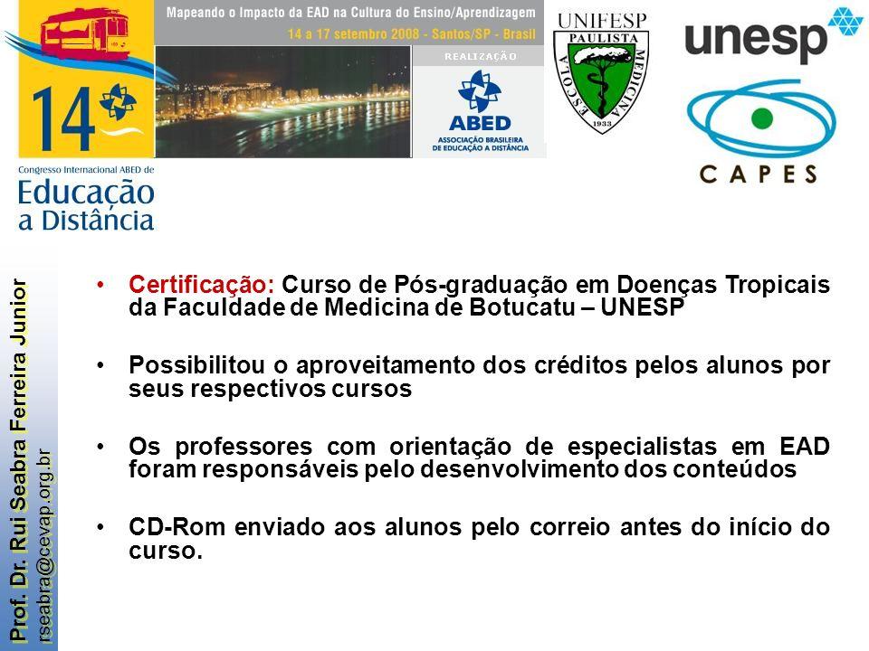 Certificação: Curso de Pós-graduação em Doenças Tropicais da Faculdade de Medicina de Botucatu – UNESP