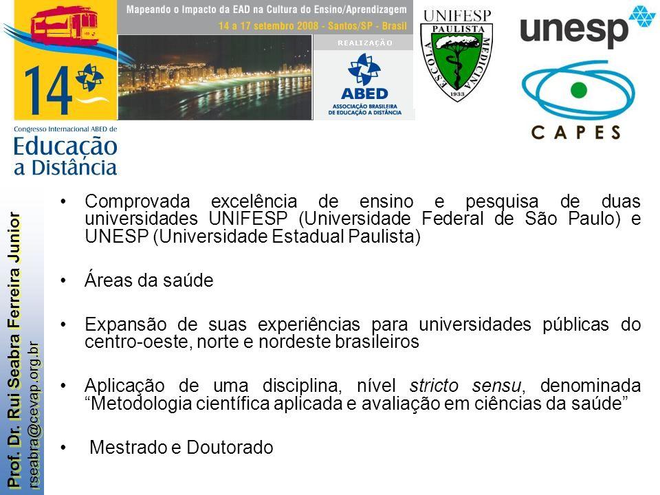 Comprovada excelência de ensino e pesquisa de duas universidades UNIFESP (Universidade Federal de São Paulo) e UNESP (Universidade Estadual Paulista)
