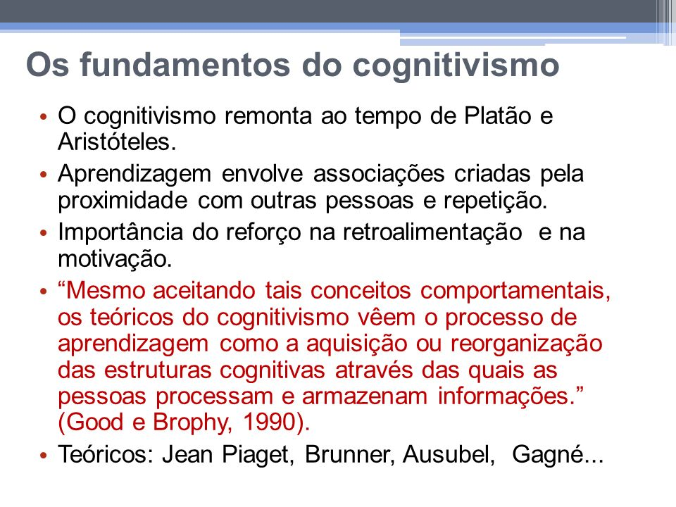 Os fundamentos do cognitivismo