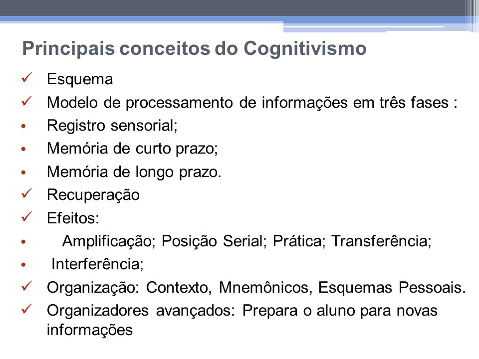 Principais conceitos do Cognitivismo