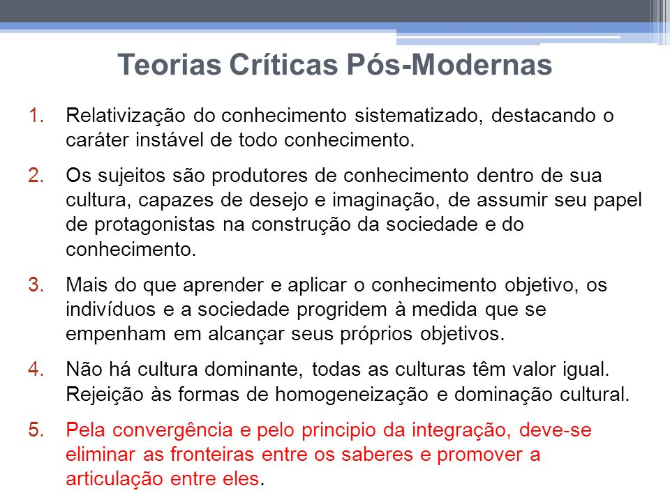 Teorias Críticas Pós-Modernas