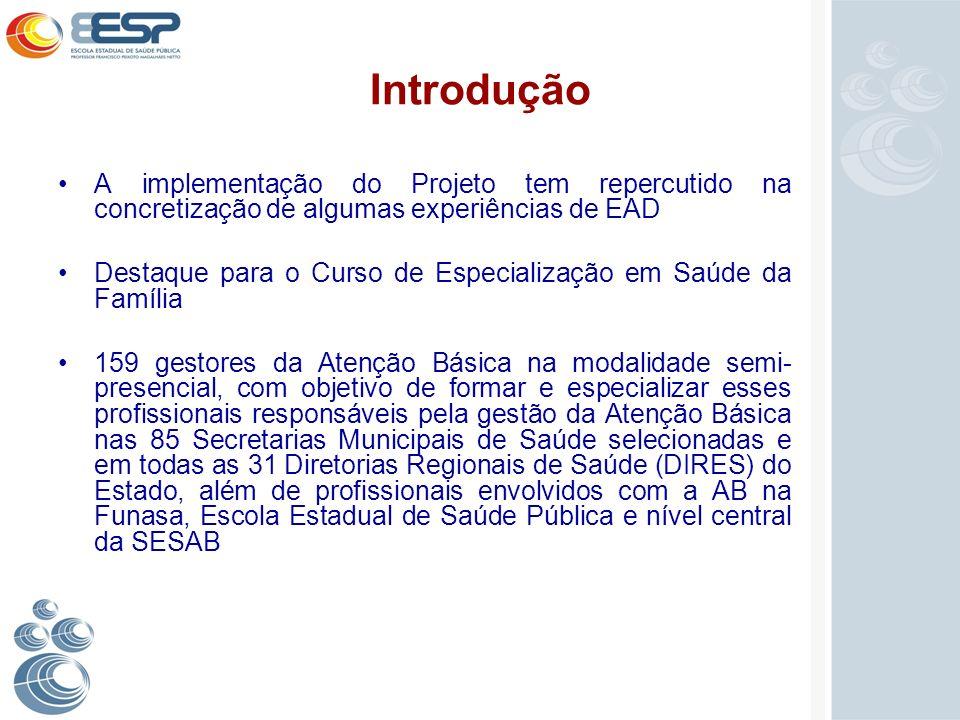 Introdução A implementação do Projeto tem repercutido na concretização de algumas experiências de EAD.
