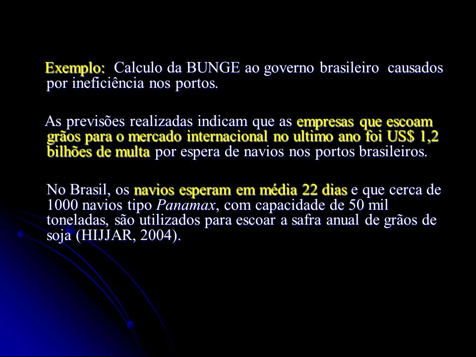 Exemplo: Calculo da BUNGE ao governo brasileiro causados por ineficiência nos portos.