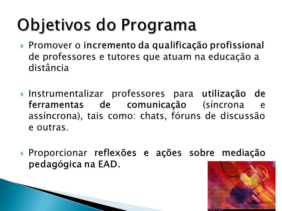 Objetivos do Programa Promover o incremento da qualificação profissional de professores e tutores que atuam na educação a distância.