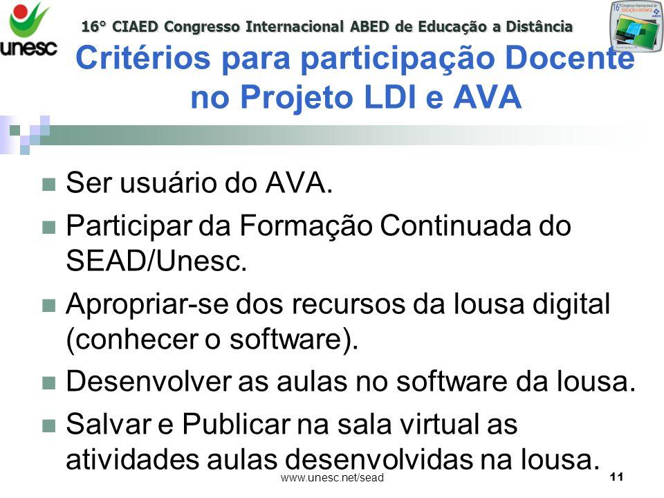 Critérios para participação Docente no Projeto LDI e AVA