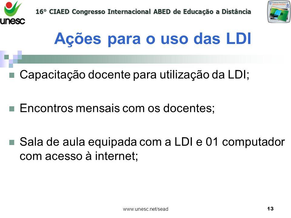 Ações para o uso das LDI Capacitação docente para utilização da LDI;
