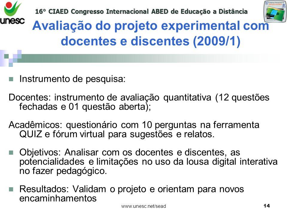 Avaliação do projeto experimental com docentes e discentes (2009/1)