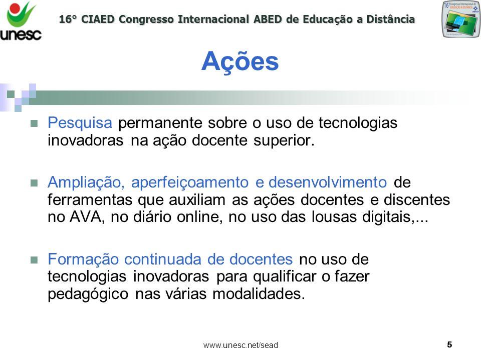 Ações Pesquisa permanente sobre o uso de tecnologias inovadoras na ação docente superior.