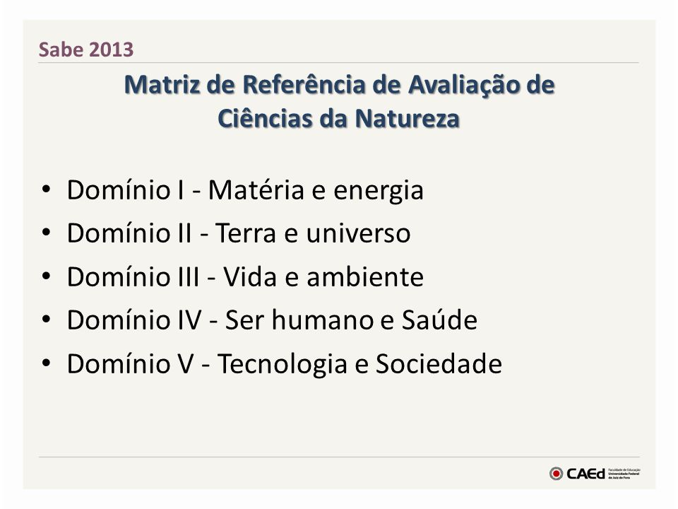 Matriz de Referência de Avaliação de Ciências da Natureza