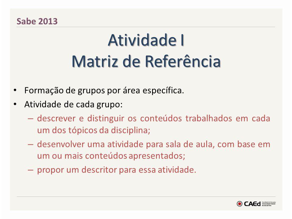 Atividade I Matriz de Referência