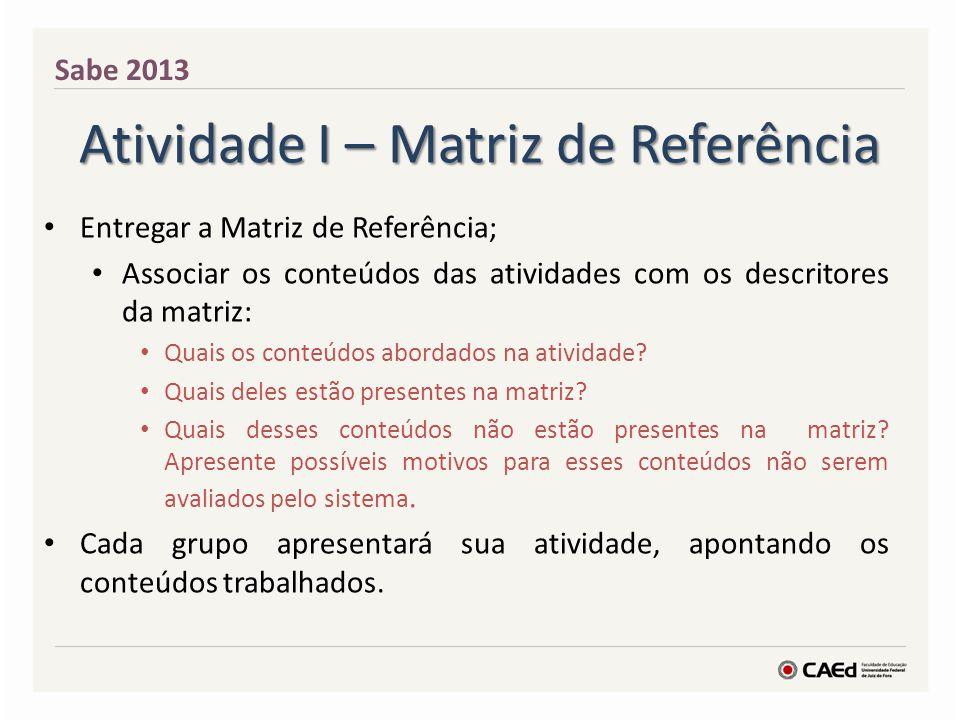 Atividade I – Matriz de Referência