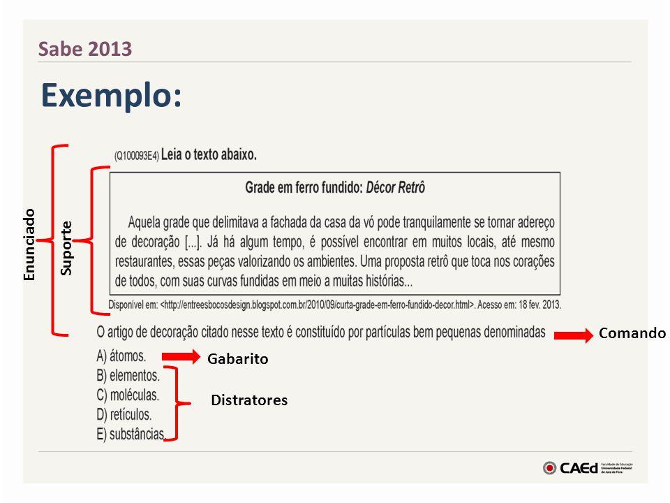 Sabe 2013 Exemplo: Suporte Enunciado Comando Gabarito Distratores