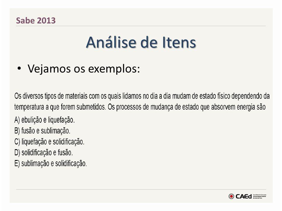 Sabe 2013 Análise de Itens Vejamos os exemplos: