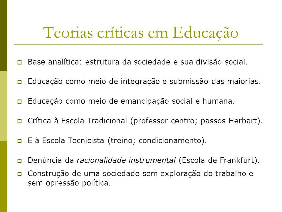 Teorias críticas em Educação