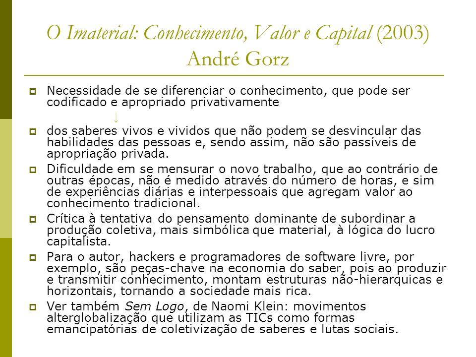 O Imaterial: Conhecimento, Valor e Capital (2003) André Gorz