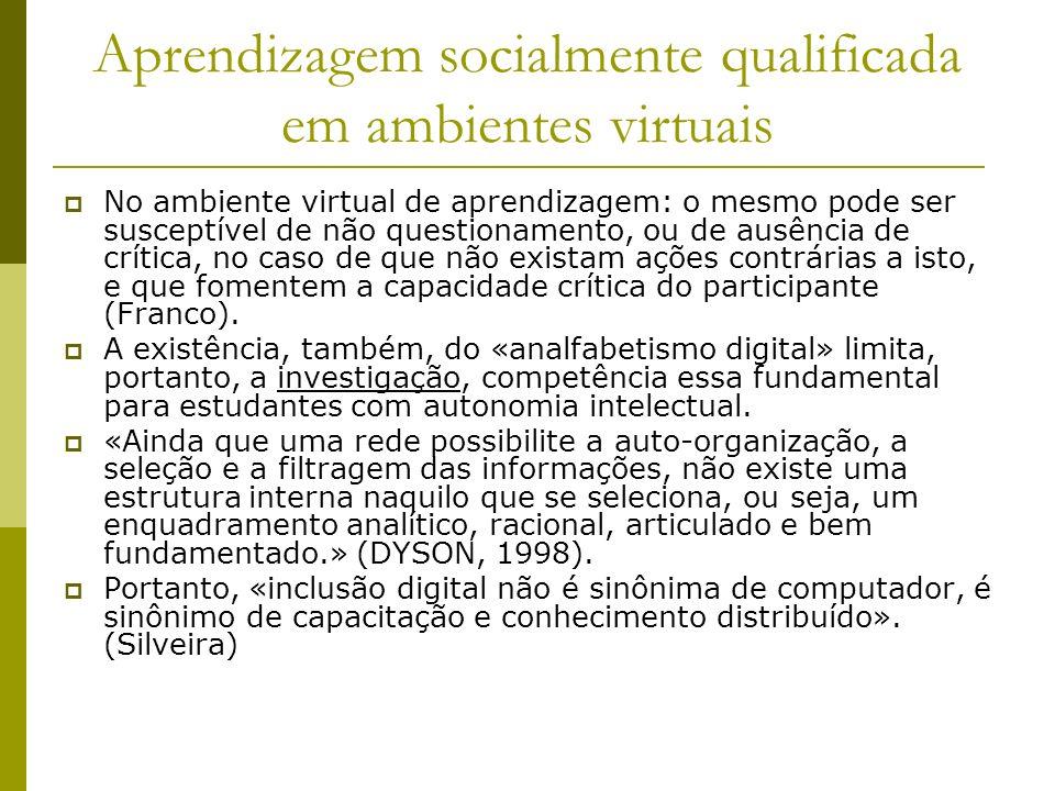 Aprendizagem socialmente qualificada em ambientes virtuais