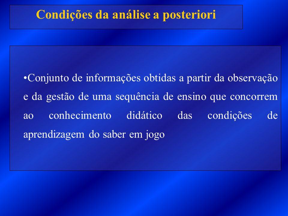 Condições da análise a posteriori