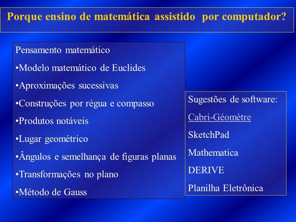 Porque ensino de matemática assistido por computador