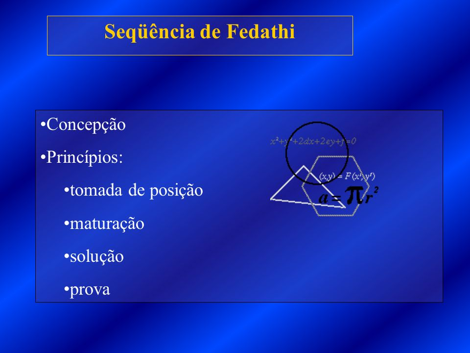 Seqüência de Fedathi Concepção Princípios: tomada de posição maturação