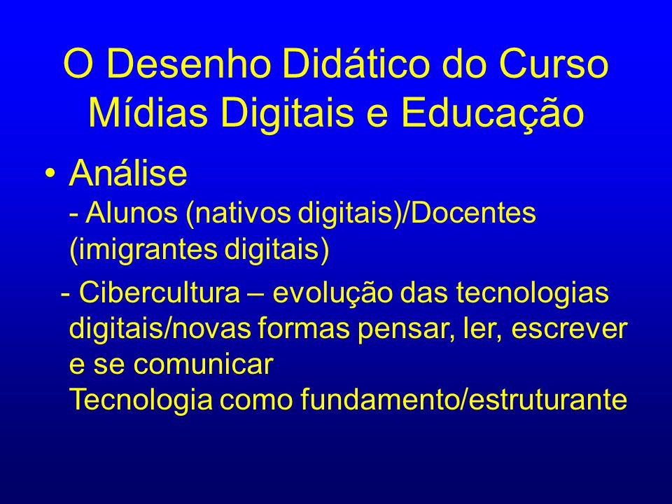 O Desenho Didático do Curso Mídias Digitais e Educação