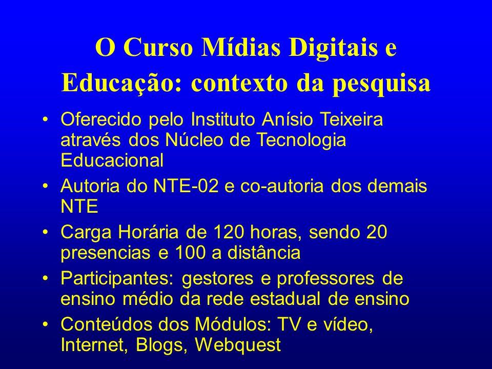 O Curso Mídias Digitais e Educação: contexto da pesquisa