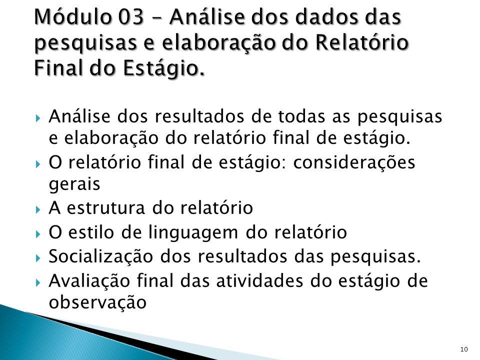 Módulo 03 – Análise dos dados das pesquisas e elaboração do Relatório Final do Estágio.