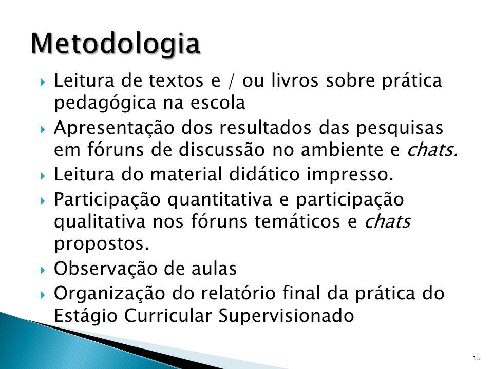 MetodologiaLeitura de textos e / ou livros sobre prática pedagógica na escola.