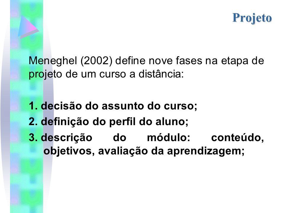 Projeto Meneghel (2002) define nove fases na etapa de projeto de um curso a distância: decisão do assunto do curso;