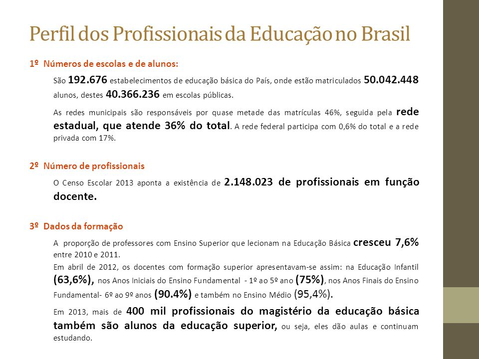 Perfil dos Profissionais da Educação no Brasil