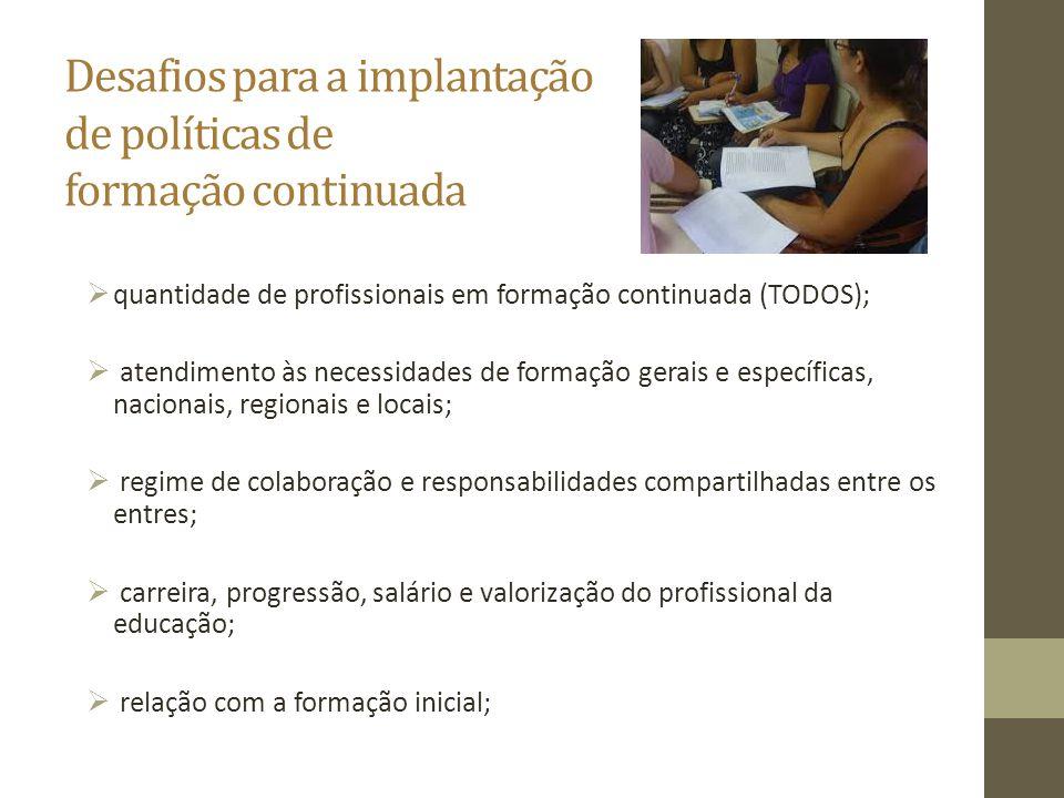 Desafios para a implantação de políticas de formação continuada