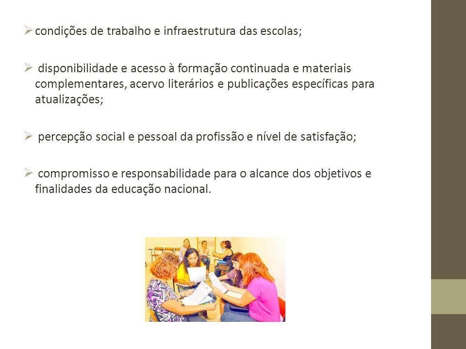 condições de trabalho e infraestrutura das escolas;