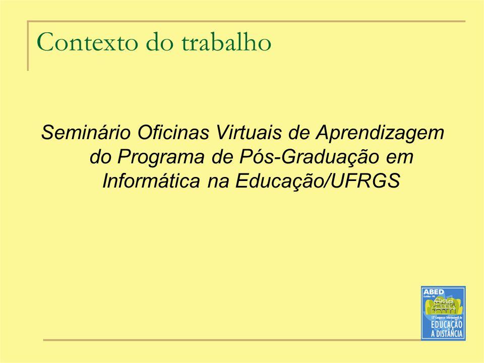 Contexto do trabalho Seminário Oficinas Virtuais de Aprendizagem do Programa de Pós-Graduação em Informática na Educação/UFRGS.