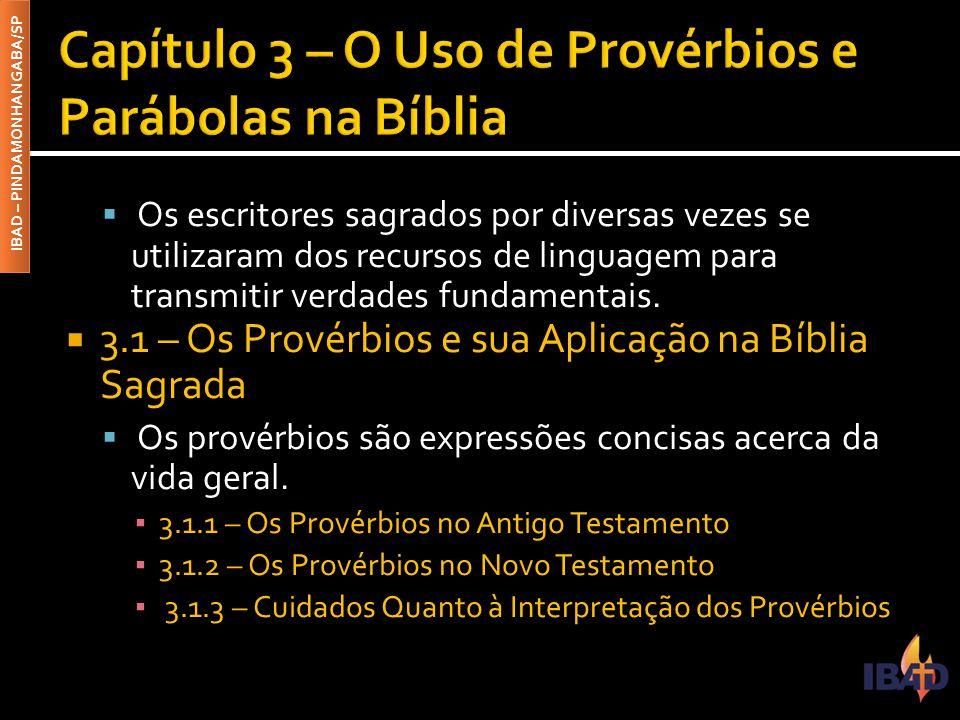 Capítulo 3 – O Uso de Provérbios e Parábolas na Bíblia
