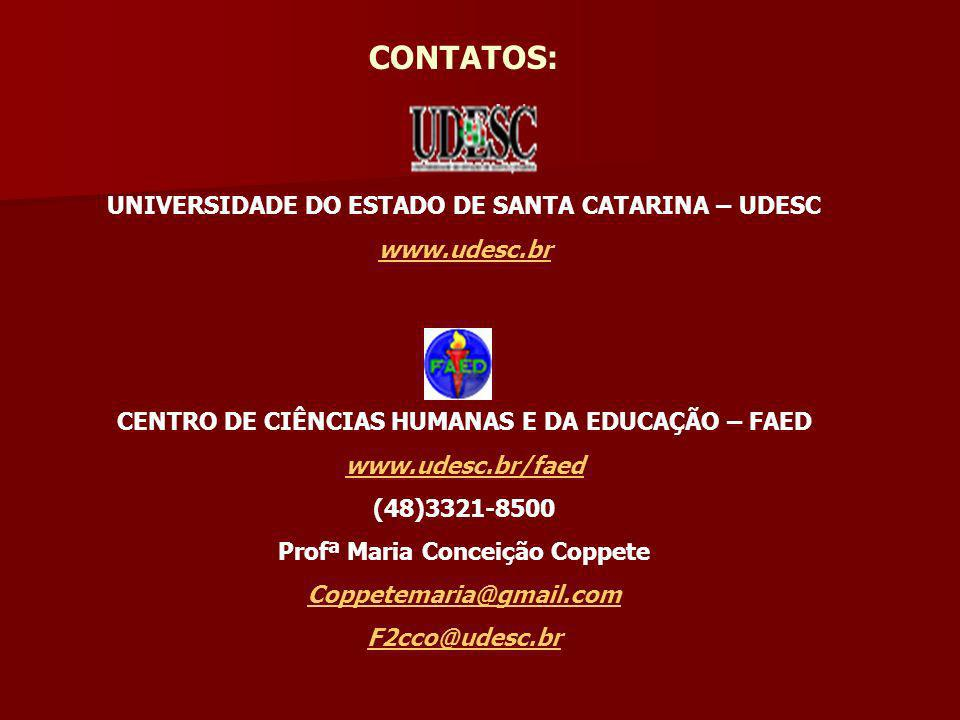 CONTATOS: UNIVERSIDADE DO ESTADO DE SANTA CATARINA – UDESC