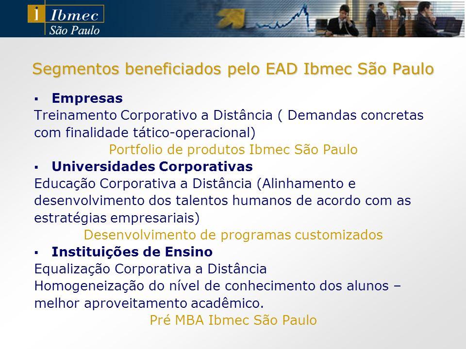 Segmentos beneficiados pelo EAD Ibmec São Paulo