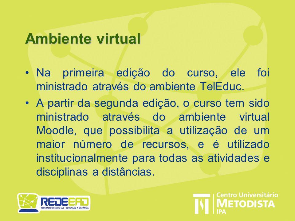 Ambiente virtual Na primeira edição do curso, ele foi ministrado através do ambiente TelEduc.
