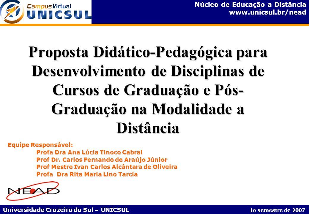 Proposta Didático-Pedagógica para Desenvolvimento de Disciplinas de Cursos de Graduação e Pós-Graduação na Modalidade a Distância