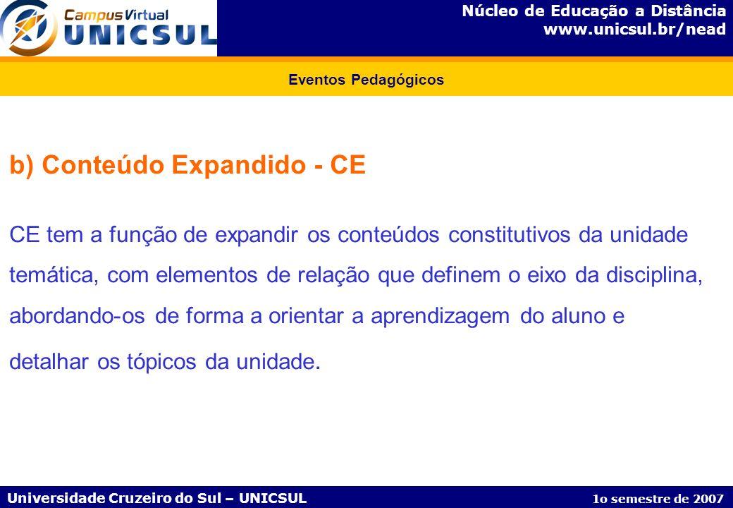 b) Conteúdo Expandido - CE