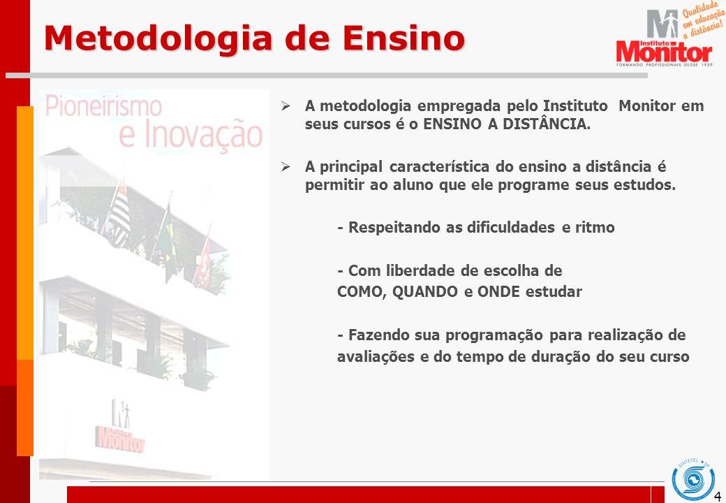 Metodologia de Ensino A metodologia empregada pelo Instituto Monitor em seus cursos é o ENSINO A DISTÂNCIA.