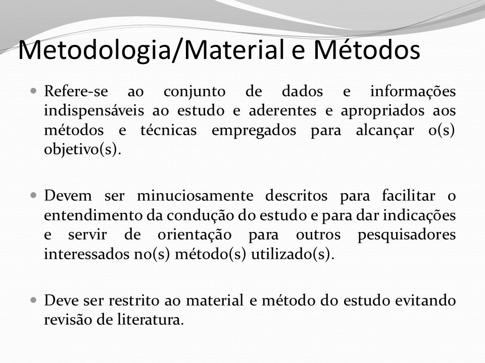 Metodologia/Material e Métodos