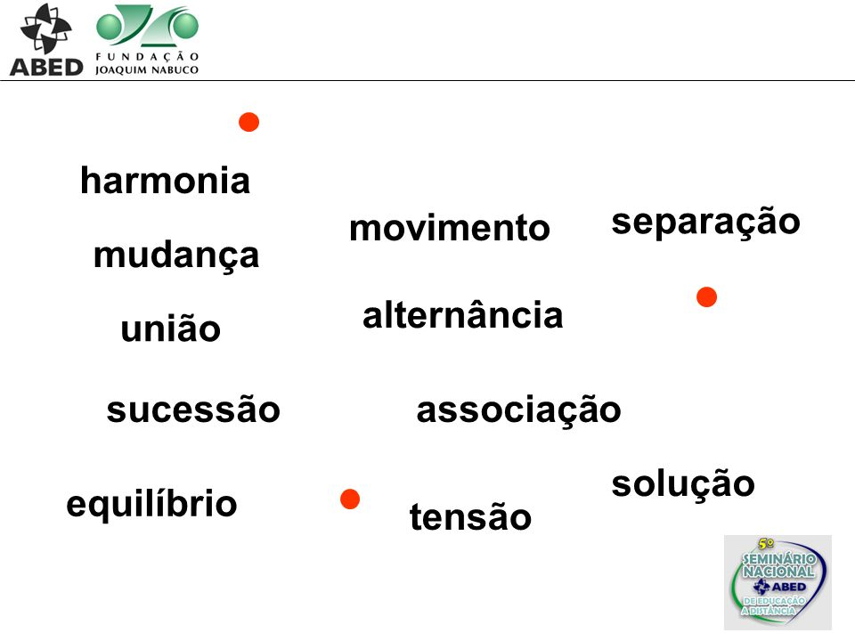 harmonia separação. movimento. mudança. alternância. união. sucessão. associação. solução. equilíbrio.