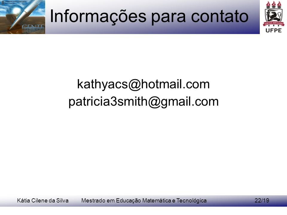 Informações para contato