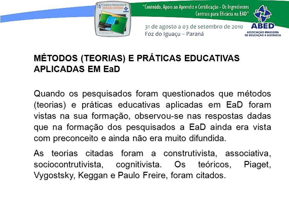 MÉTODOS (TEORIAS) E PRÁTICAS EDUCATIVAS APLICADAS EM EaD